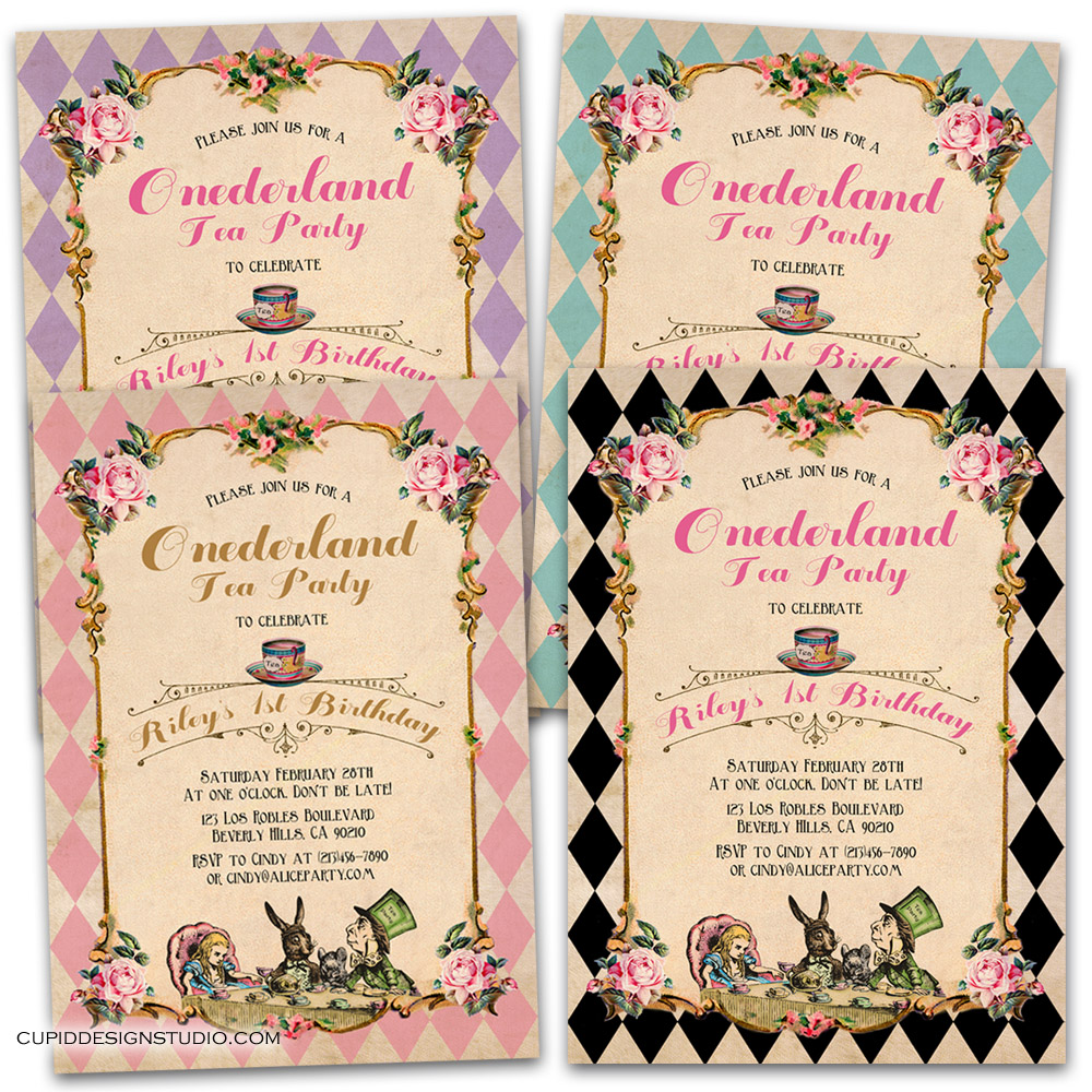 Alice In Onederland 1st Birthday Invitations