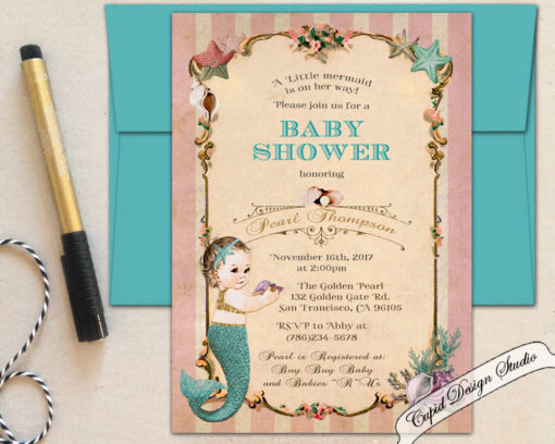 graphic about Printable Mermaid Baby Shower Invitations identified as Mermaid child shower invites, 5x7\