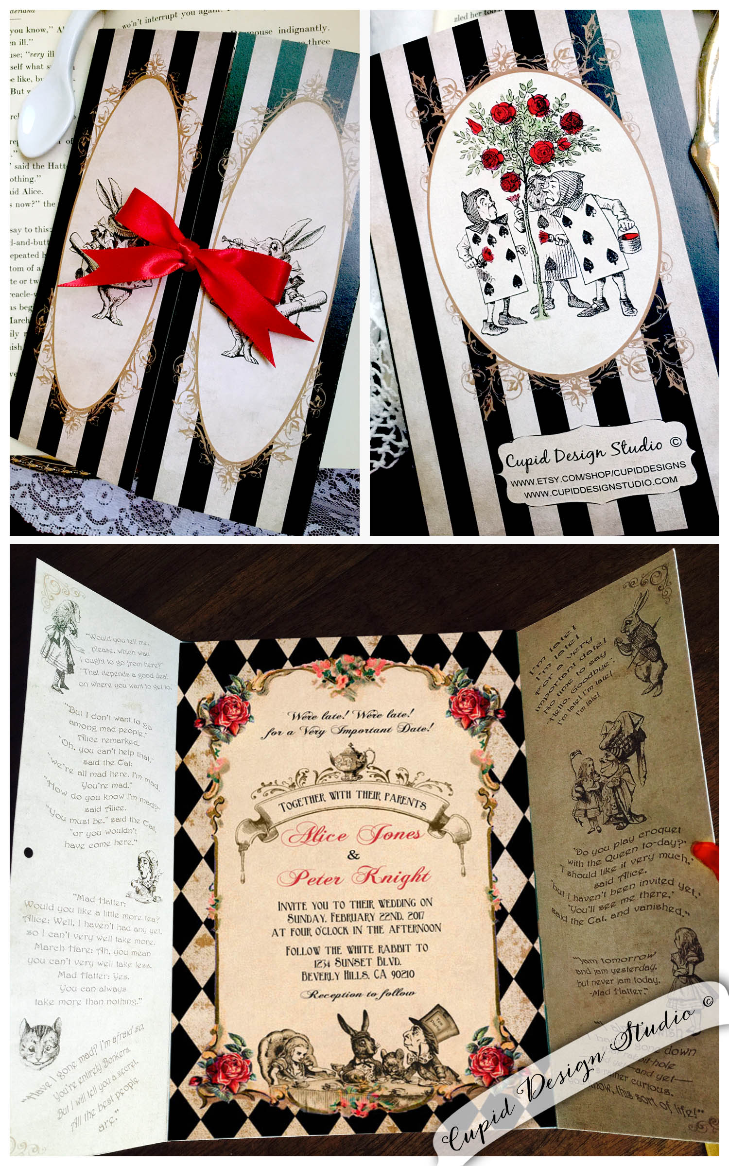 Alice in wonderland gatefold invitations Mad hatter tea party