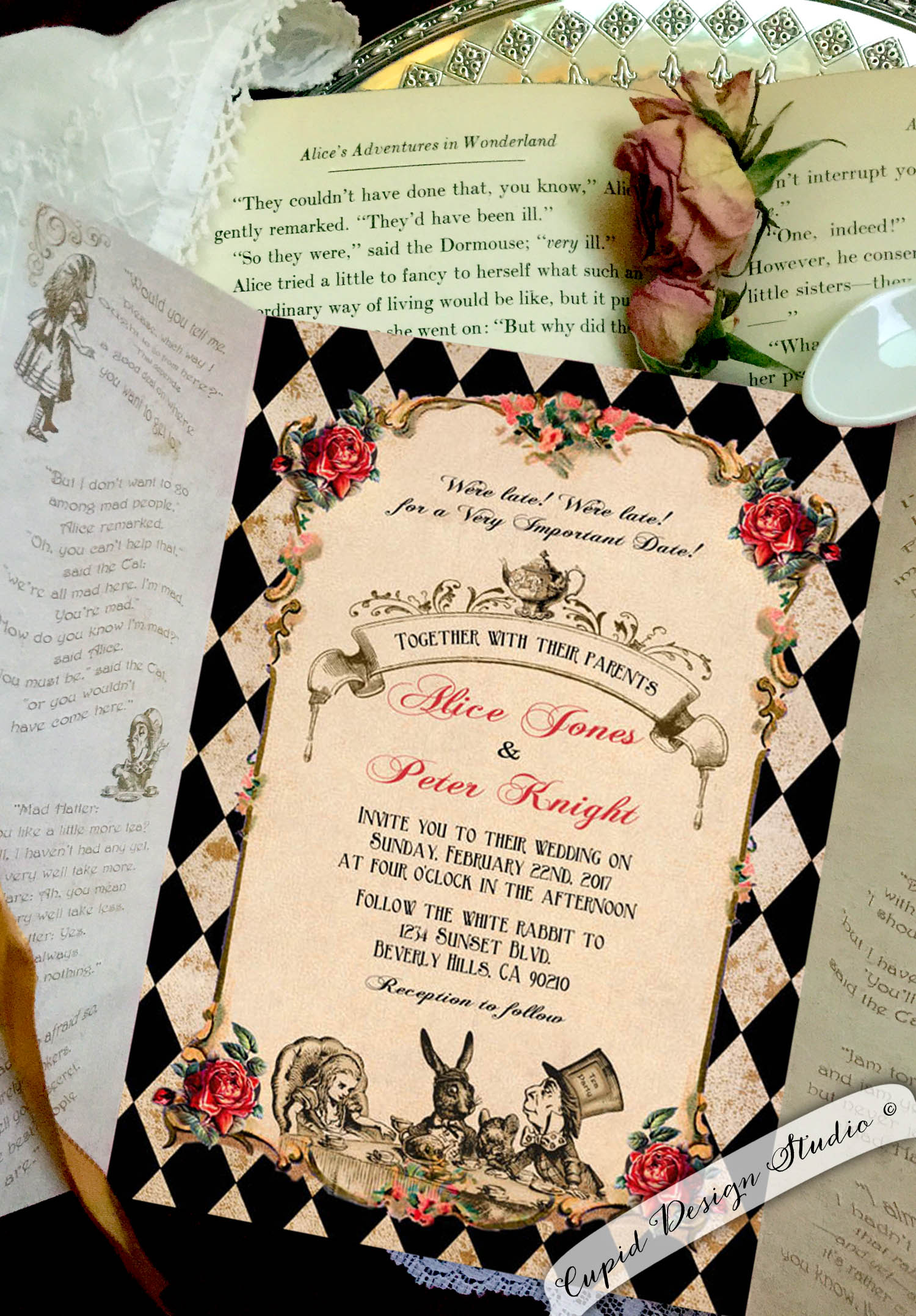 Personalized Wedding Invitations.Alice In Wonderland Gatefold Invitations Mad Hatter Tea Party Personalized Invites 5x7