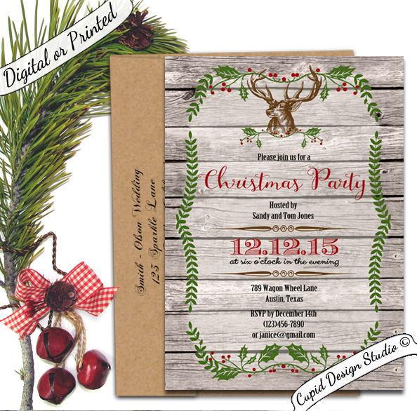 deer christmas invitations  rustic holiday party invites