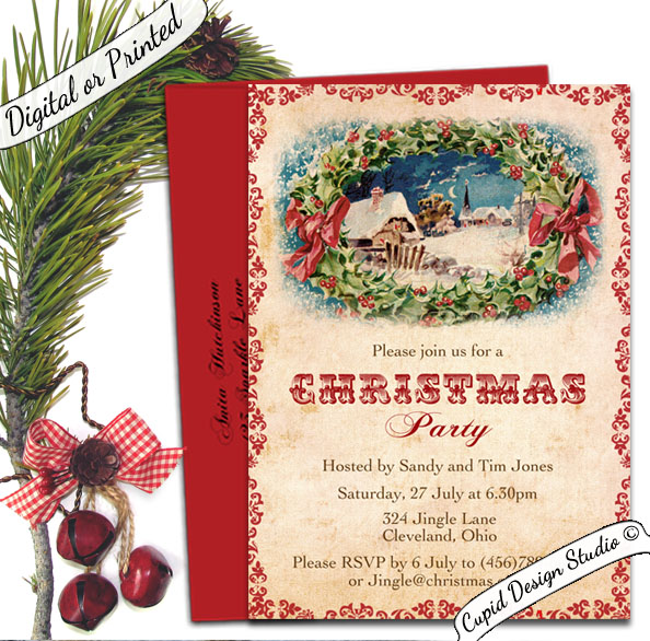 vintage christmas party invitations personalized with matching
