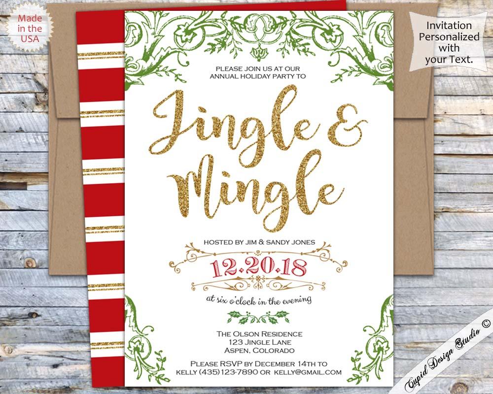 Christmas Invitation.Jingle And Mingle Holiday Cocktail Party Invitations Christmas Invites Printed Or Printable 5x7 Copy