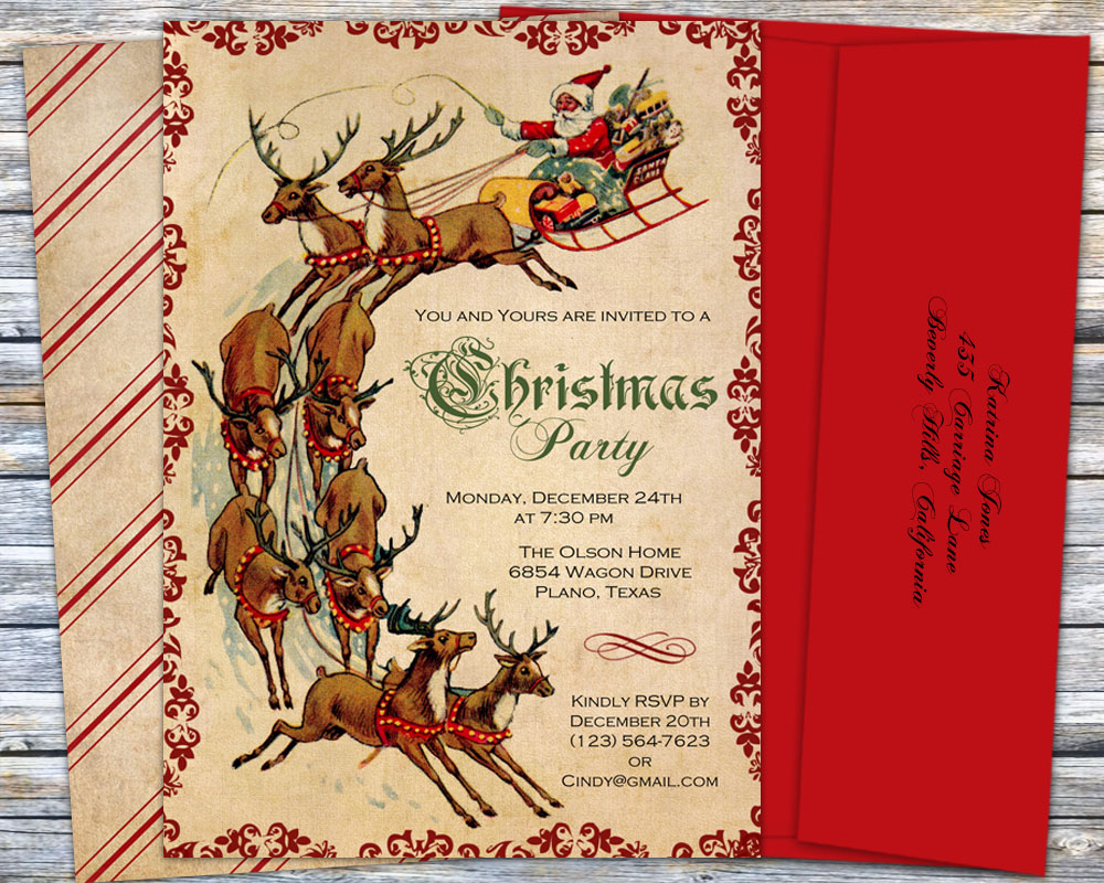 christmas party invitations  vintage santa with sleigh