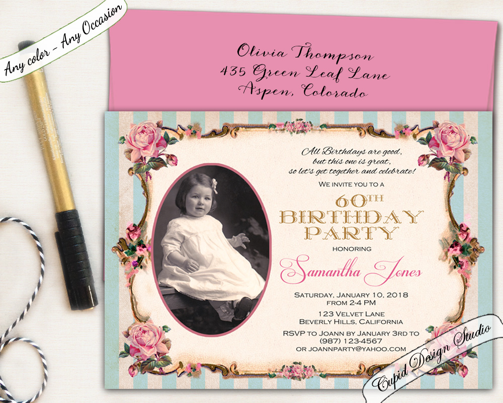 Adult Birthday Party Invitations 80th