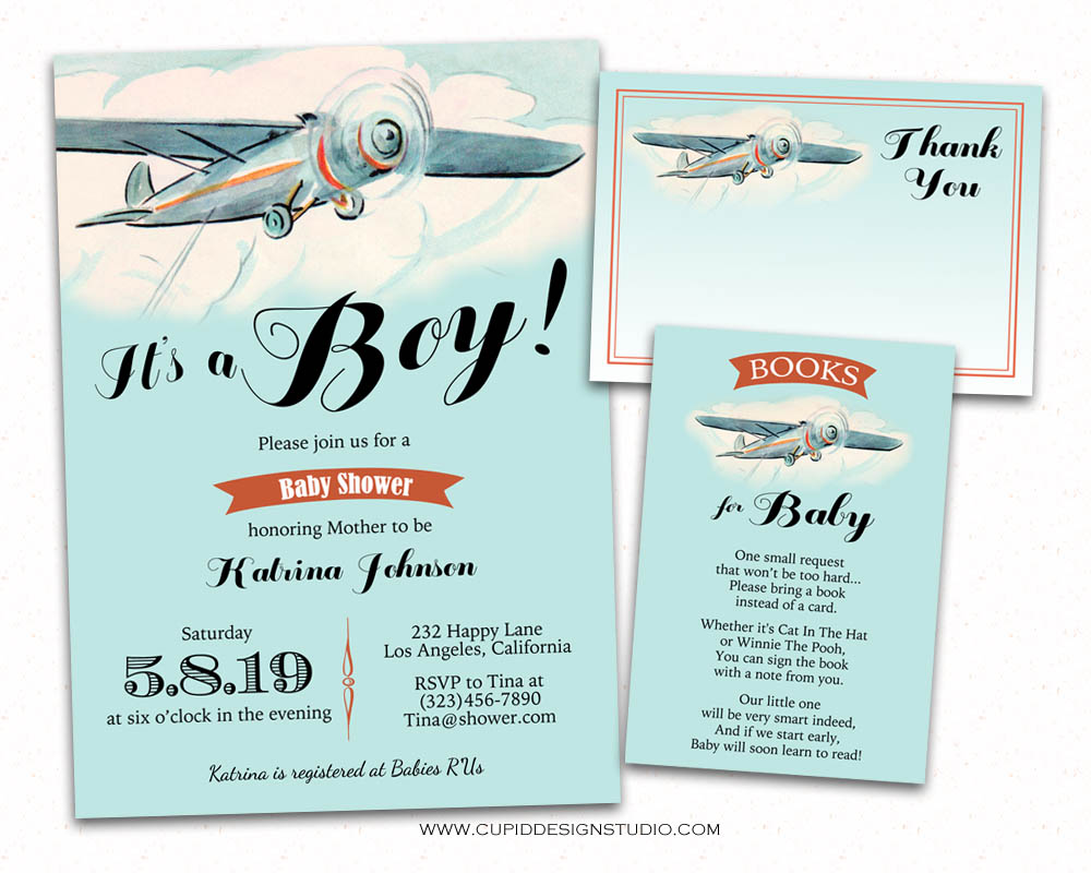 Vintage Airplane Baby Shower Invitations Bring A Book Thank You Card Printable Or Printed