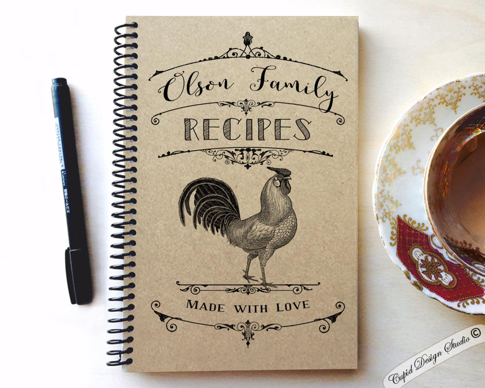 My Cookbook Cover : Personalized recipe book with kraft cover cupid design