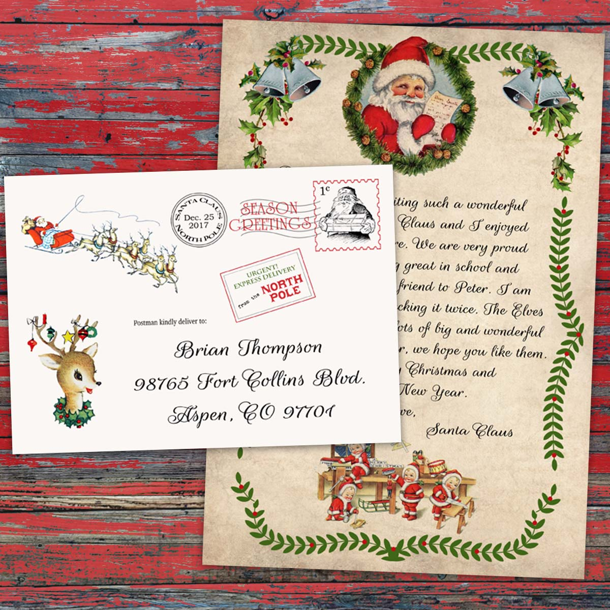 Personalized christmas letter from santa claus official north pole personalized christmas letter from santa spiritdancerdesigns Images