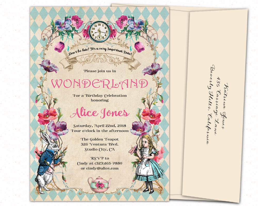 Elegant Alice in Wonderland invitations 5x7 personalized printed