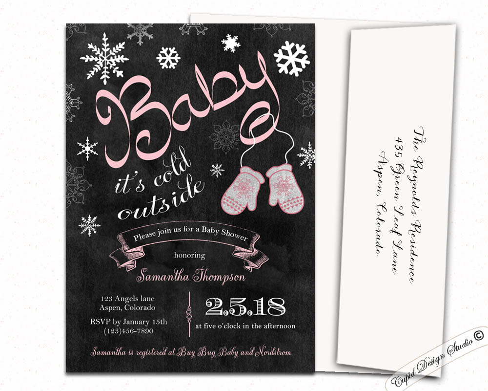 Baby it\'s cold outside baby shower invitations blue or pink winter ...