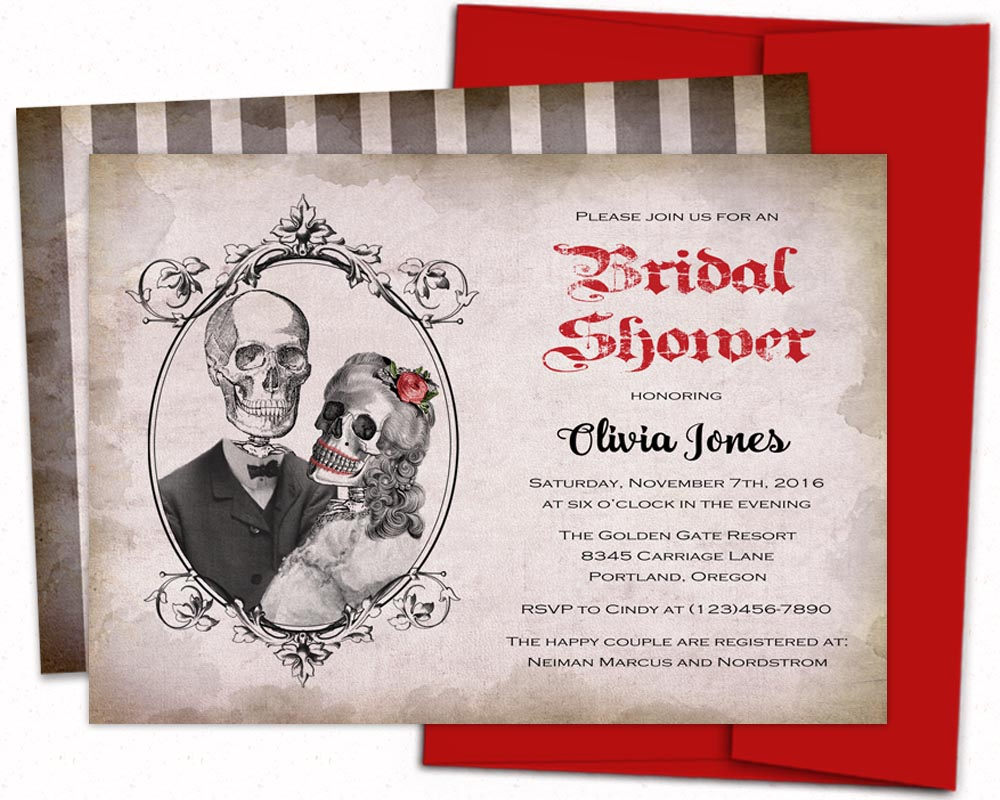 Gothic bridal shower invitations, halloween sugar skull, Day of the ...