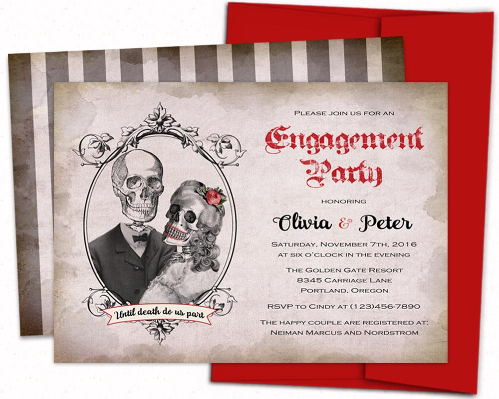 Gothic bridal shower invitations, halloween sugar skull, Day of the ...