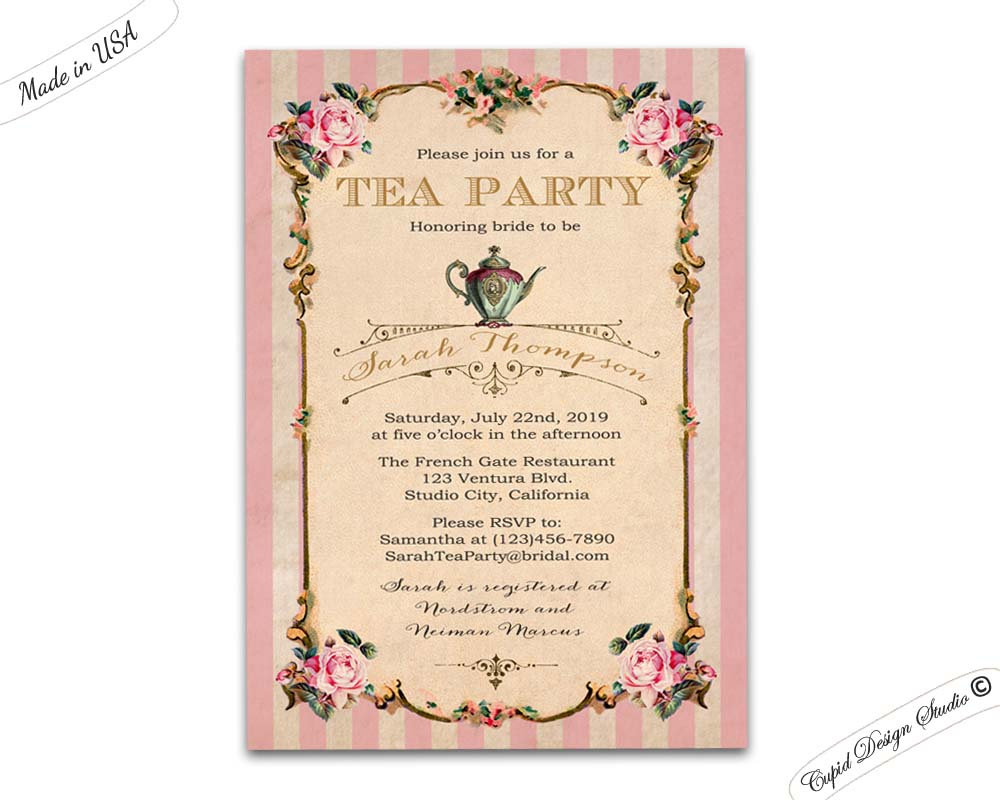 Bbq baby shower invitations personalized printable or printed 5x7 high tea bridal shower invitations filmwisefo