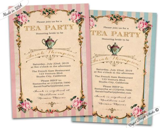 High Tea Bridal Shower Invitations Personalized Printable Or Printed 5x7