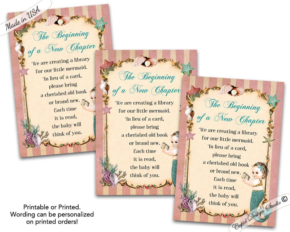 Little Mermaid Bring A Book Instead Of Card Printable Or Printed Coral And Tea Baby Shower Insert 35x5