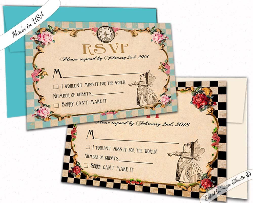 alice in wonderland wedding rsvp card  queen of hearts