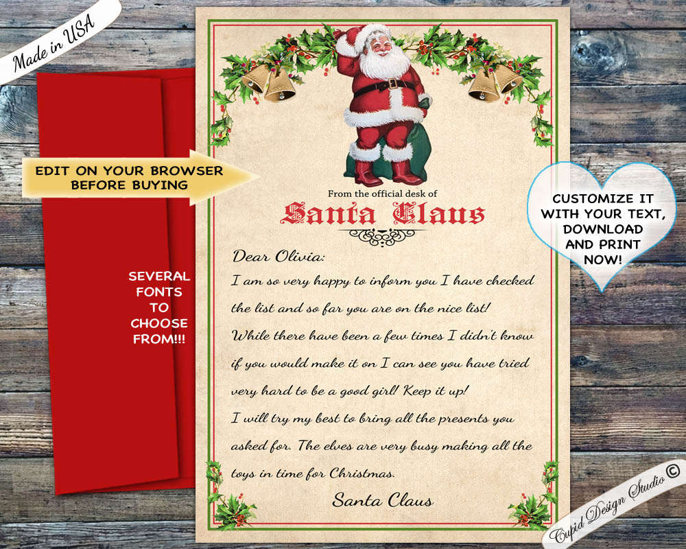picture relating to Letter From Santa Template Printable identify printable tailored letter against santa claus template, do-it-yourself editable words and phrases prompt down load PDF and JPG data files.