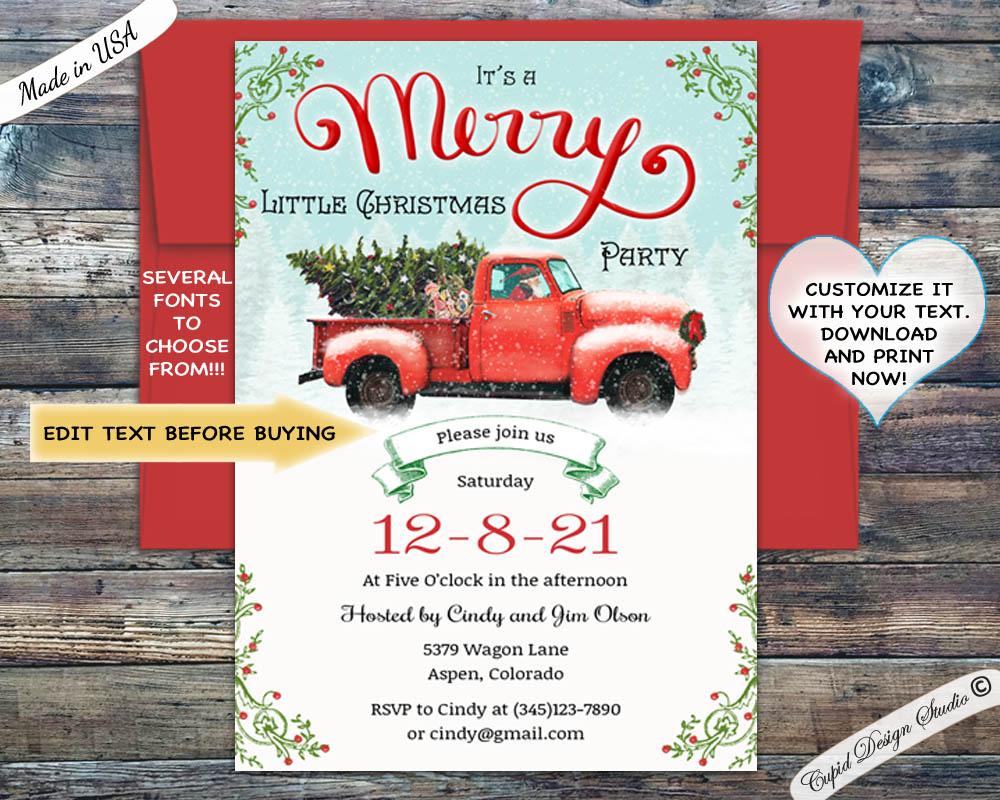 Christmas Invitation.Vintage Red Truck Christmas Invitation Merry Christmas Social Invitation Templates Editable